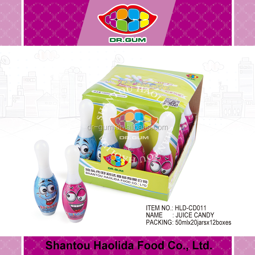 Mix fruit LIQUID Spray Candy with bowling shape