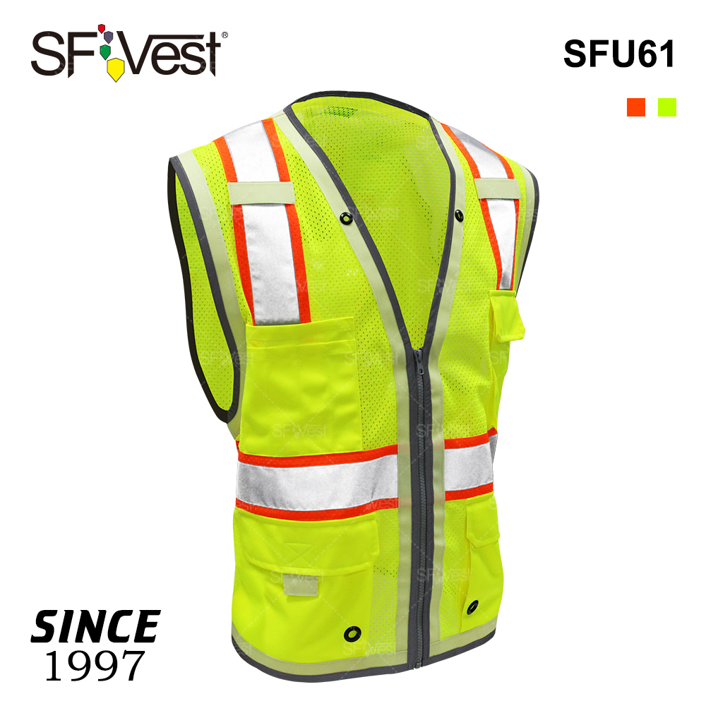 Wholesale safety customized polyester mesh fabric working construction reflecting vest