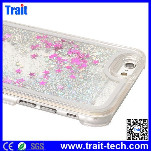 Dynamic Glitter Quicksand Stars Liquid PC Back Case for iPhone 6