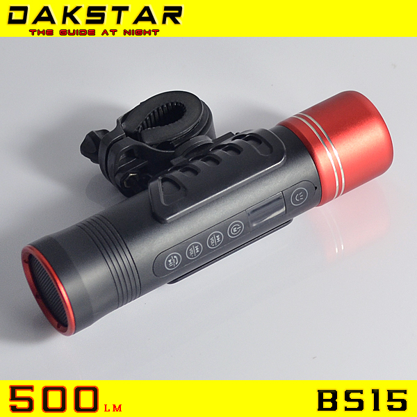 DAKSTAR Newest BS15 500LM Rechargeable Multifunctional Bicycle Flashlight With Torch / Bluetooth / Music Play