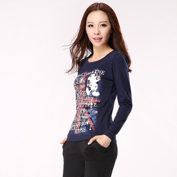 Lady's long sleeve chinese t-shirts cheap sport new pattern printed t shirts
