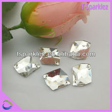 Sew on two holes beads glass bead gems for wedding clothes