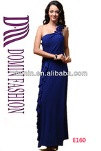 New Arrival One Shoulder Ladies Flowers Strap Evening Dress