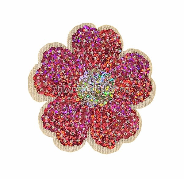 Made in China fashion for kids children's clothing accessories embroidery glitter sequin pink flower