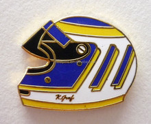 ENAMEL MOTOR RACING HELMET PIN BADGE