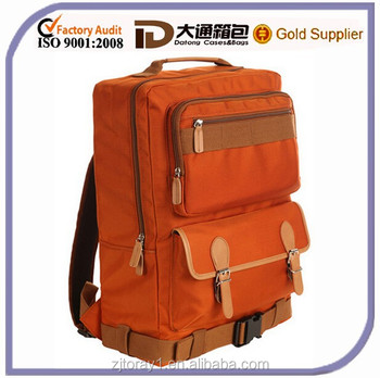 Orange Zippper Durable Cheap 2015 School Backpack Laptop Bag