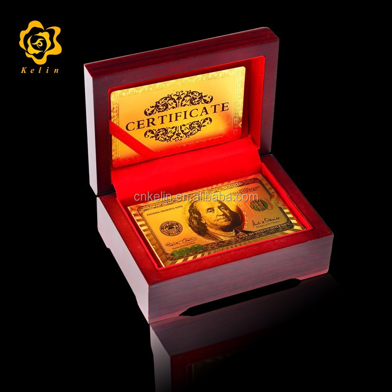 colored gold foil USD Dollar <strong>100</strong> embossed playing cards with gift box