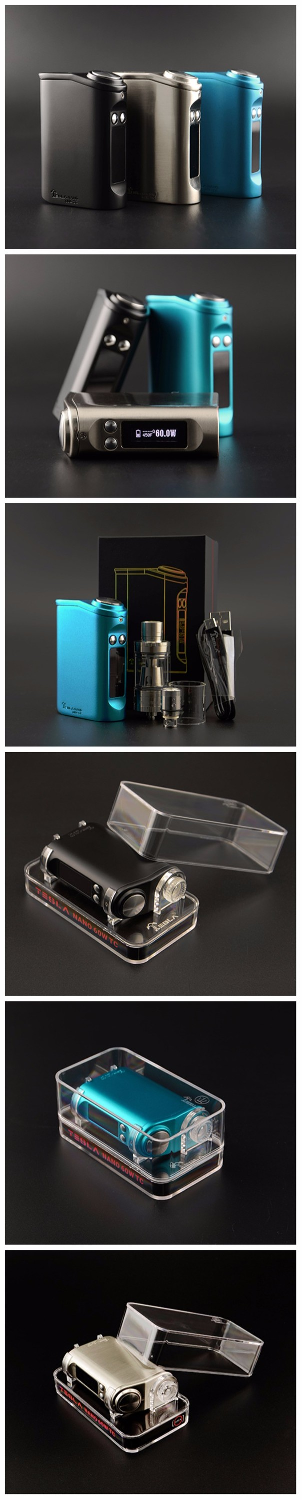 2016 The Incredible Health Vape Mod with Ergonomic Design!Tesla Nano 60W Temperature Control