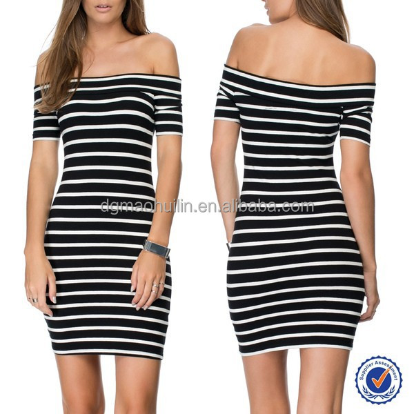 knit jersey bodycon dress off shoulder stripe dress ladies dress material wholesalers in China women smart casual wear