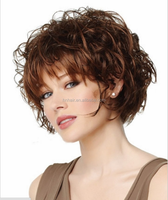 2016 NEW Fasion BOB Short Synthetic Wig Hair Piece T Color Piano Color Wave Mixed Brown Synthetic wig