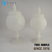 White Stripes Round Ball Shaped Glass Candy Jar