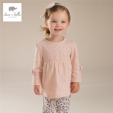 DB3677 davebella autumn cotton girls tops baby shirts girls pink dress coat outwear girls shirt clothing dress
