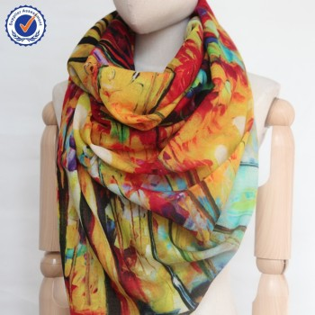 sww841 Modern Painting wool Shawl beige fine wool shawl Custom Oil Painting scarf