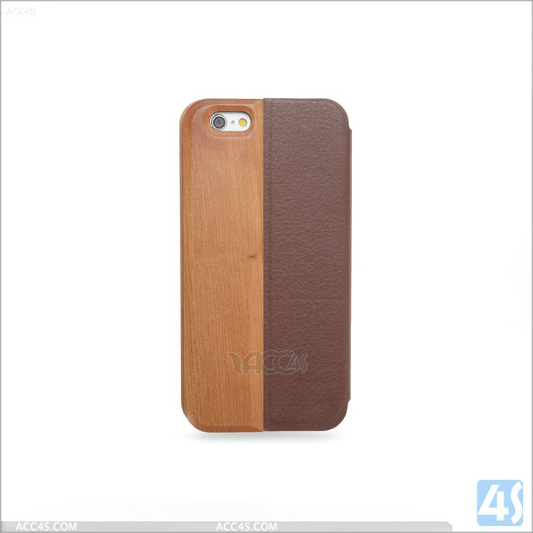 Luxury Durable Genuine Wood + PU Leather Case Cover for Apple iPhone 6