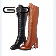 GD Lace-Up High Heel Boots For Women Ladies Black Leather Embroider Over knee boots