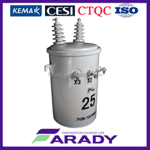single phase 75kva pole mounted oil immersed power transformer