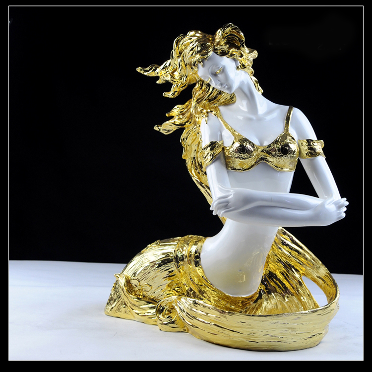 Beauty Nude Girl Statue Beautiful Gold Plated Crafts / Electroplate Plated Crafts
