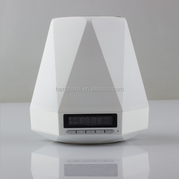 New Colorful Table Lamp LED Night Light Intelligent Bedside Lamp Clock Alarm Bluetooth Wireless Speaker