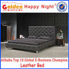 Modern new design hotel bedroom furniture black leather bed with crystal 2861