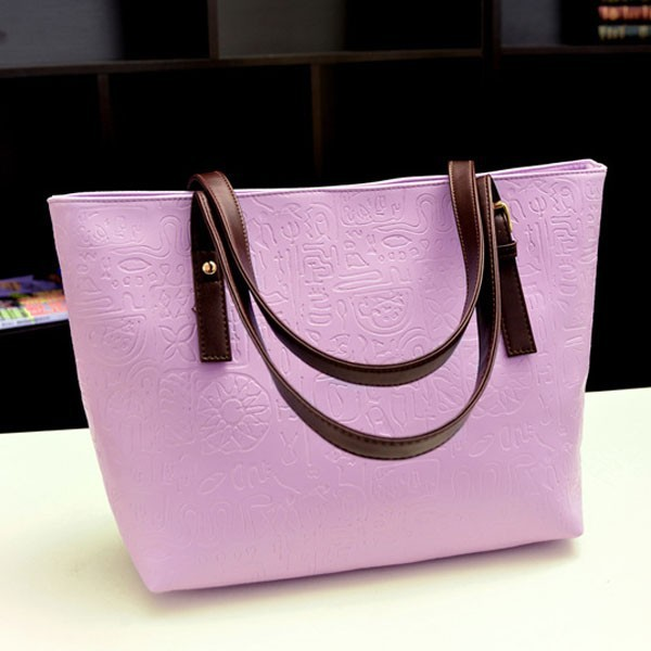 Bz2031 Top design solid color fashion ladies purple handbags