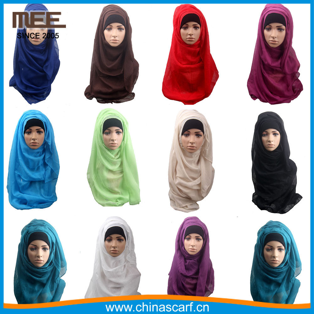 Wholesale long plain solid color scarf muslim fashion hijab