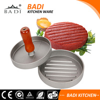 Aluminum Hand Operated Grill Mark BBQ Barbecue Hamburger Patty Meat Press with 100pcs wax disc
