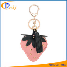 New corporate gifts for car lether personalized strawberry keychain