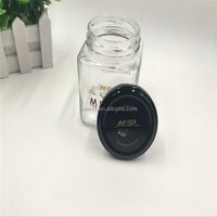 Hot selling High quality products 100ml 200ml 380ml 500ml 700ml sealed hexagonal glass jam jar with colorful screw cap