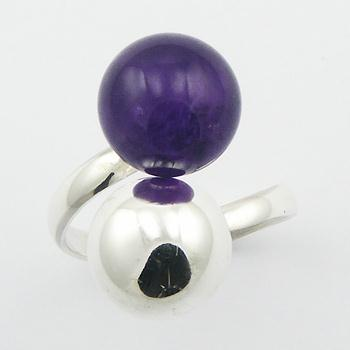 Chic Amethyst Gemstone & Silver Sphere Sterling Silver Ring