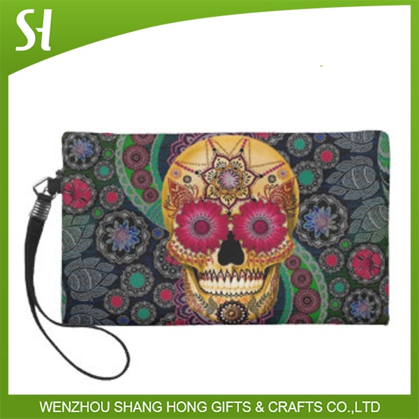 colorful sugar skull wristlet floral skull cosmetic clutch purse bag women