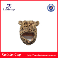customized winter fashion leopard print cartoon knitted beanie hat with ears