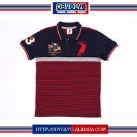 2016 polo shirt custom embroidery custom striped polo shirt/cut sew polo shirts