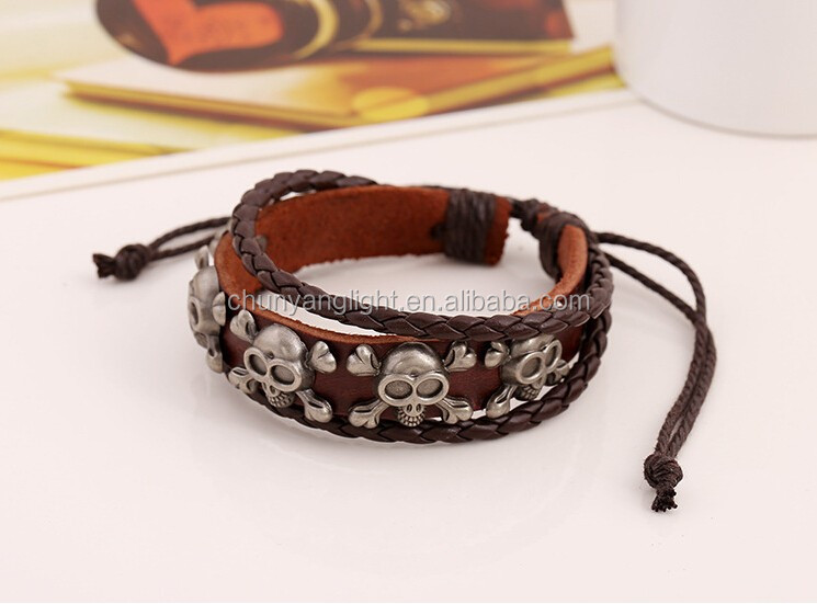 Zinc Alloy Skull With Bones Charms Adjustable Genuine Cowhide Leather Bracelet
