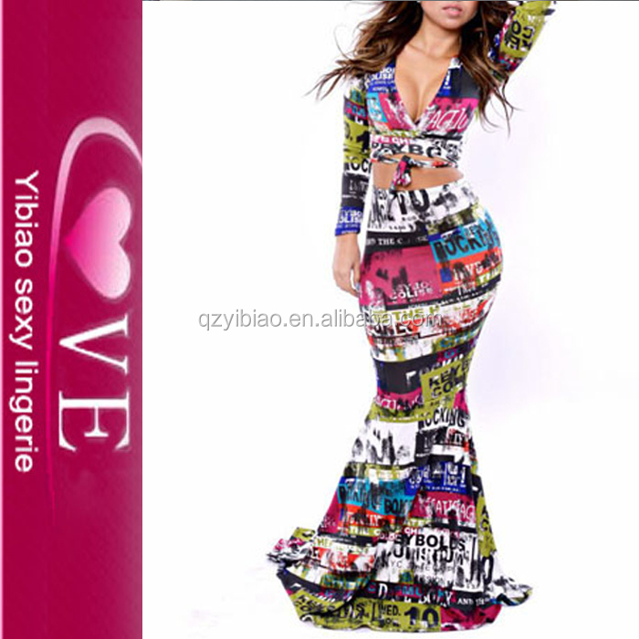 female two piece long sleeves umbrella strappy evening dress party wear long dresses