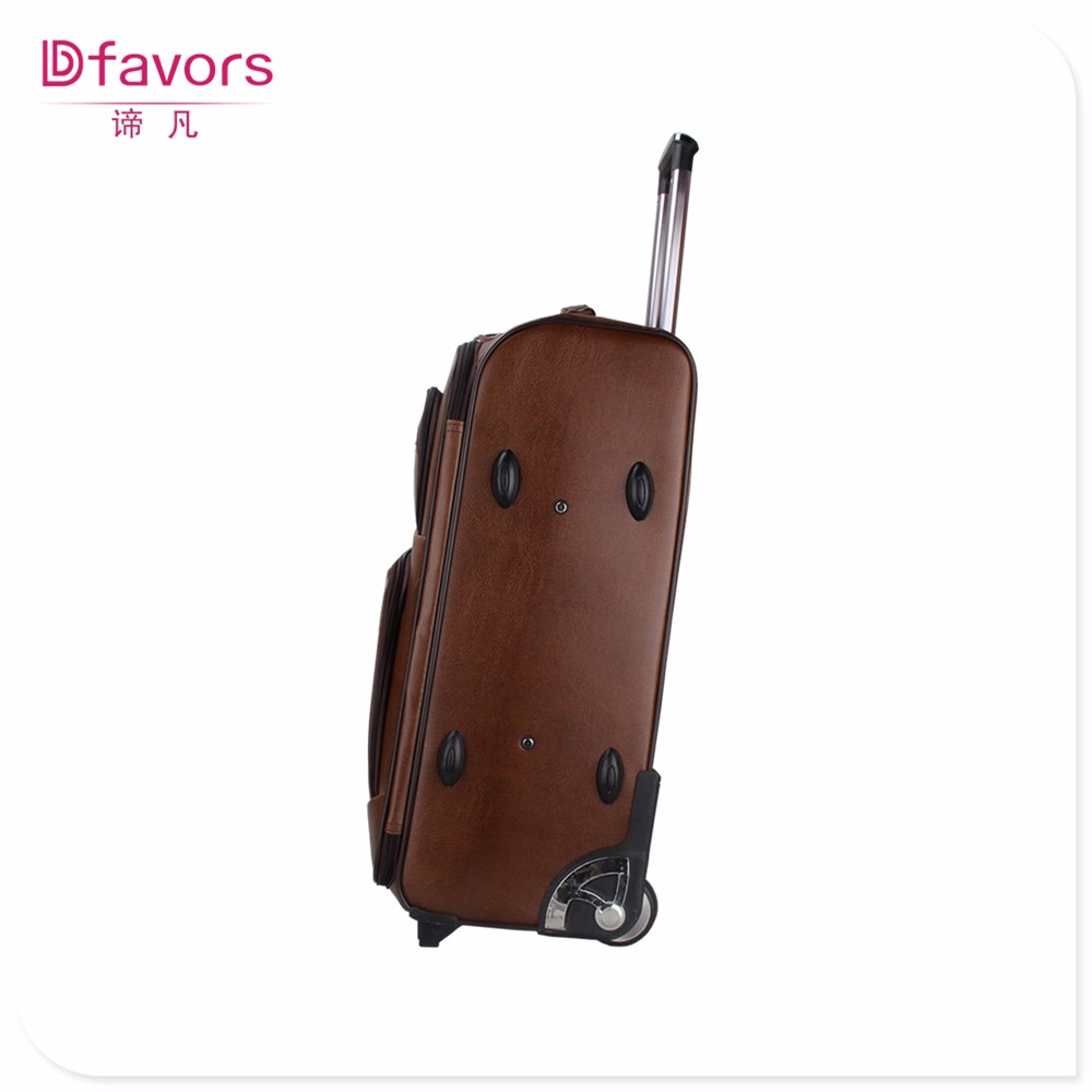 Manufacture price Pu leather suitcase trolley travelling case luggage for sell