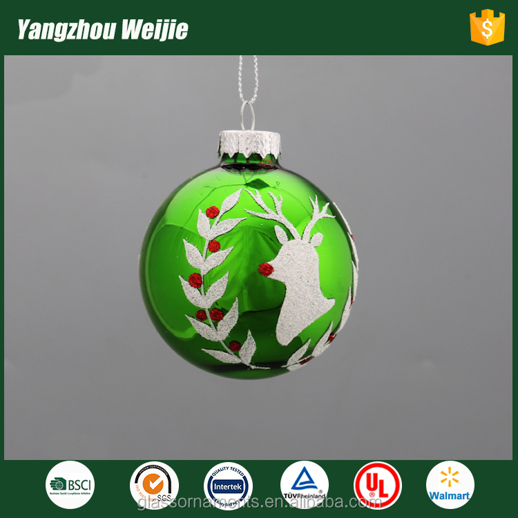 Weijie green glass ball with olive and elk christmas decoration craft