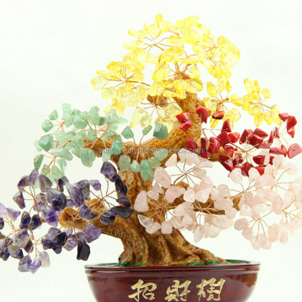 Wholesale Natural decorative crystal trees for christmas crystal stones tree