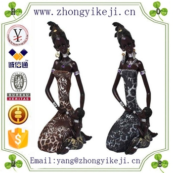 chinese factory custom made handmade carved resin african black woman figurine
