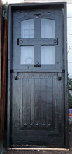 Church cross door Rustic reclaimed lumber kiln dried wood stained entry 36 X 80 glass door Dutch