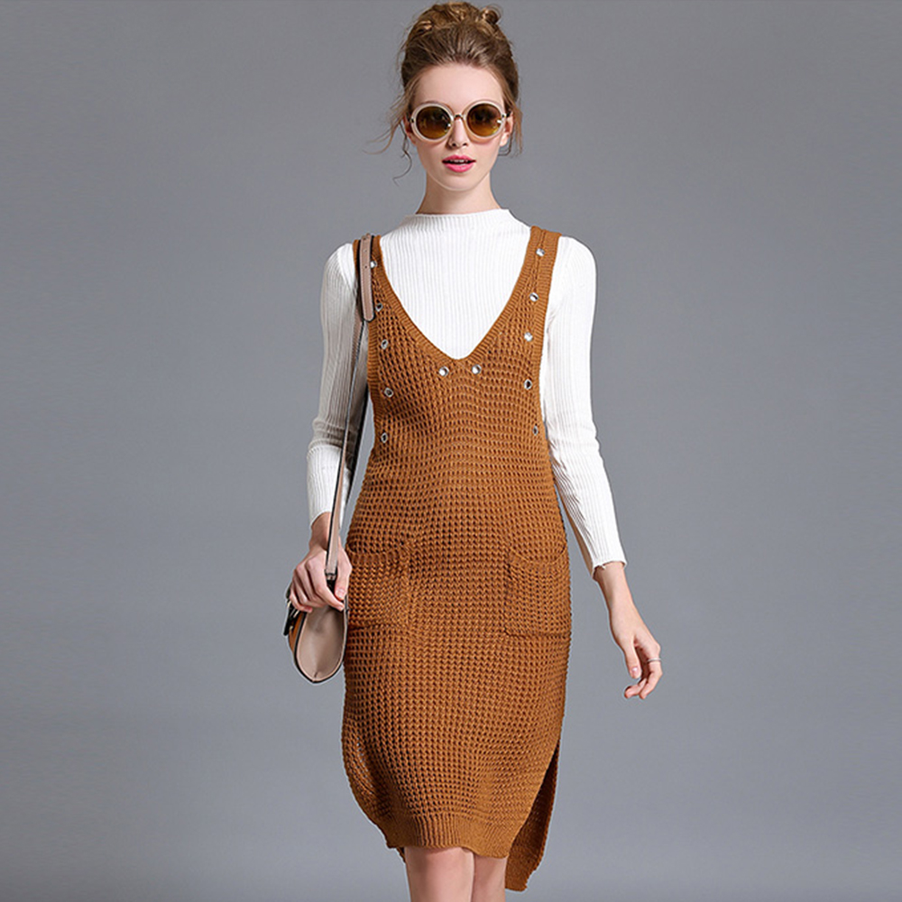Fashion Woman Sweater Suit White Sweater Coffee Suspender Dress Set Female Worl Suit Pencil Dress Autumn Winter Two Piece Set