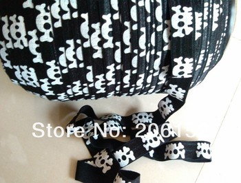 Skull Printed Fold Over Elastic Ribbon For Hair Ties