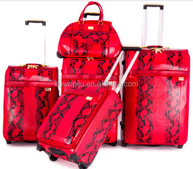 snake International red Leather Wheeled Rolling Luggage Carry On Suitcase