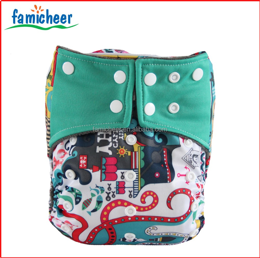 Famicheer New Design Square Tabs Leak Guard In Front Cloth Diapers