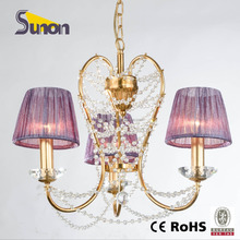 SD1149/3 Simple Crystal Chandelier/Purple Shade Hanging Lamp/ Iron Chandelier Lighting