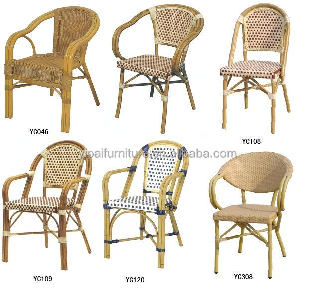 innovative antique imitation banboo outdoor aluminium rattan dning chair series