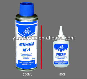mdf adhesive kit including 1500CPS MDF cyanoacrylate glue and activator