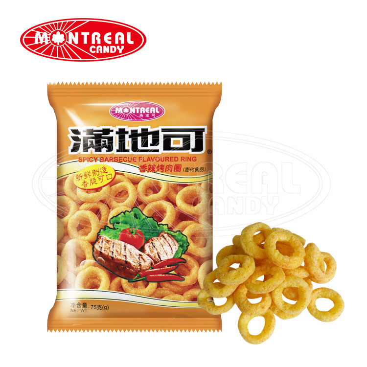 Ring Shape Halal Healthy Snack <strong>Food</strong> With Spicy Barbecue Flavour