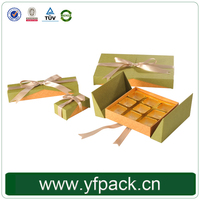 Custom Wedding Chocolate Gift Box Bowknot Decorative Golden Plastic Insert Chocolate Packaging Boxes