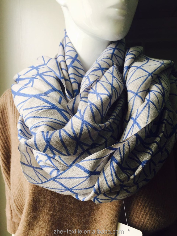 wool and silk scarf with graphic lines Denmark style