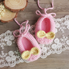 Handmade Soft bottom knit newborn boys wool crochet baby shoes